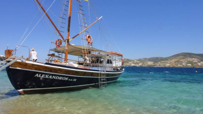 Alexandros boat cruise around Paros and anti-Paros