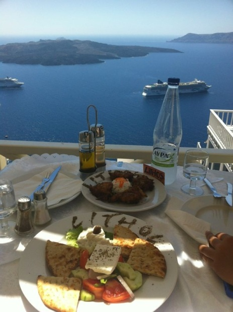 Lunch at Lithos Restaurant, Fira