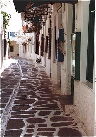 Cobblestone streets of Parakia